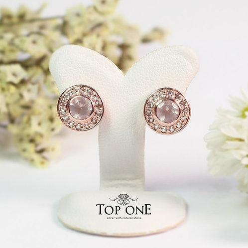 Natural Rose Quartz  925 Sterling Silver Earring