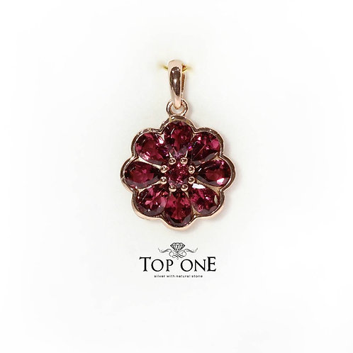 Natural Pink Tourmaline Rubellite Color 925 Sterling Silver Pendant