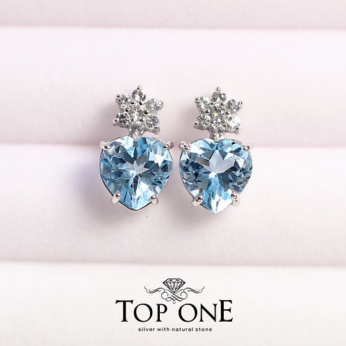 Tiara Natural Blue Topaz 925 Sterling Silver Earring