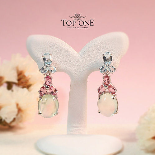 Natural Prehnite Pink Tourmaline Blue Topaz 925 Sterling Silver Earring