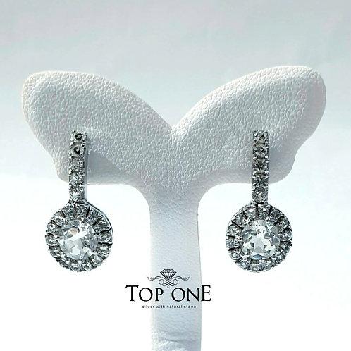 Natural White Topaz White Topaz 925 Sterling Silver Earring