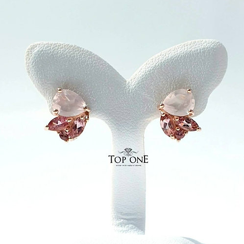 Birdy Natural Rose Quartz Pink Tourmaline 925 Sterling Silver Earring