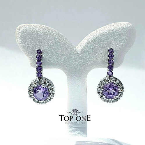 Natural Amethyst White Topaz 925 Sterling Silver Earring