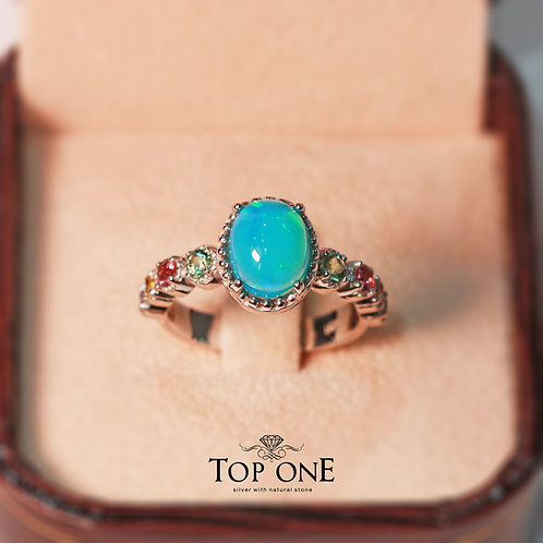 Natural Blue Opal 925 Sterling Silver Ring