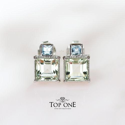 Natural Green Amethyst, Blue Topaz  925 Sterling Silver Earring