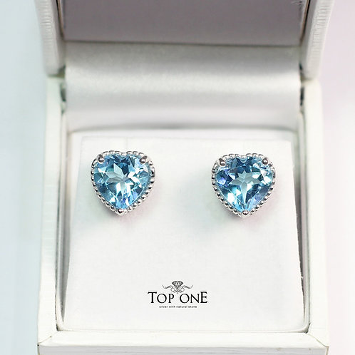 Oro Natural Blue Topaz 925 Sterling Silver Earring