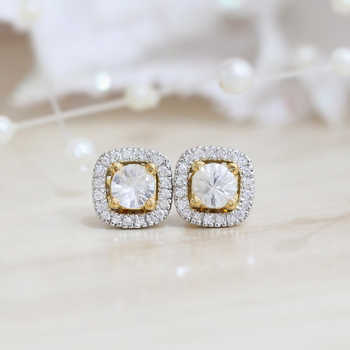 Natural White  Zircon 925 Sterling Silver Earring