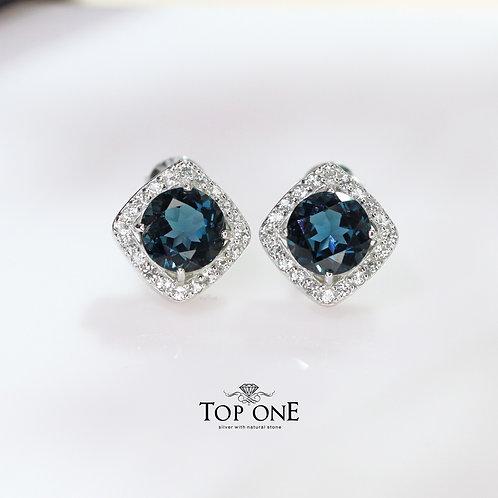 Natural London Blue Topaz 925 Sterling Silver Earring