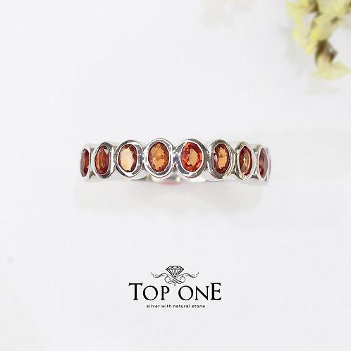 Radiant Natural Orange Sapphire 925 Sterling Silver Ring