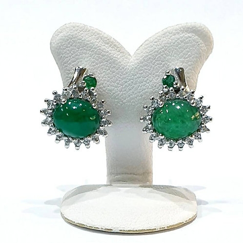 Natural Emerald White Topaz 925 Sterling Silver Earring