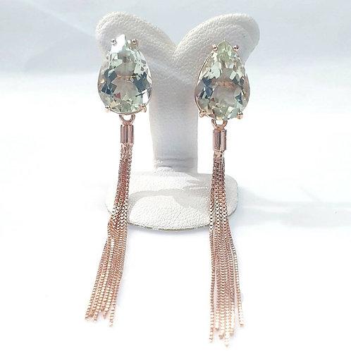 Natural Green Amethyst 925 Sterling Silver Adjustable Earring