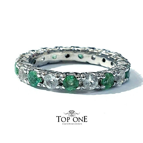 Ferris Natural Emerald White Topaz 925 Sterling Silver Ring