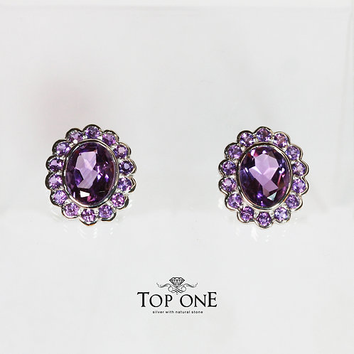 Natural Amethyst 925 Sterling Silver Earring