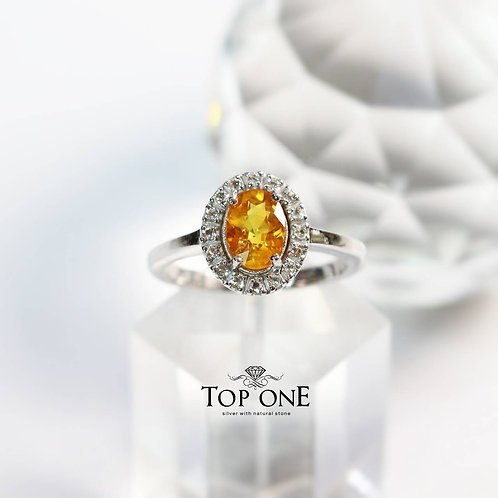 Natural Yellow Sapphire 925 Sterling Silver Ring