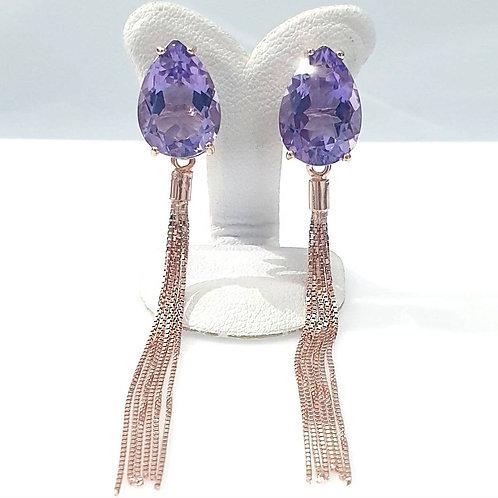 Natural Amethyst 925 Sterling Silver Adjustable Earring