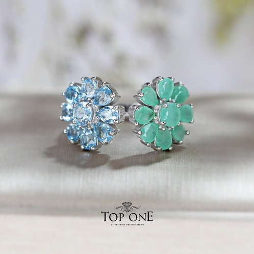 Daisy Natural Emerald, Blue Topaz 925 Sterling Silver Ring