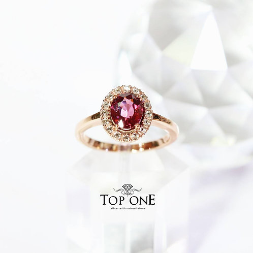 Natural Pink Rhodolite 925 Sterling Silver Ring