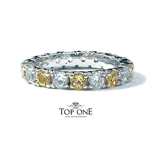 Ferris Natural Citrine and White Topaz 925 Sterling Silver Ring