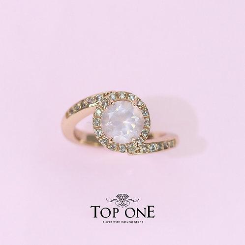 Natural Rose Quartz925 Sterling Silver Ring