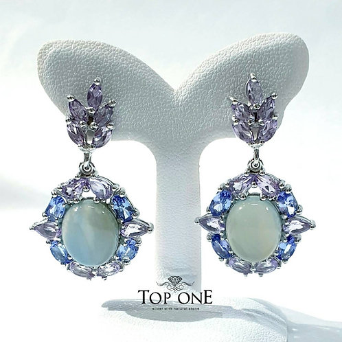 Natural Blue Chaledony Tanzanite Amethyst 925 Sterling Silver Earring