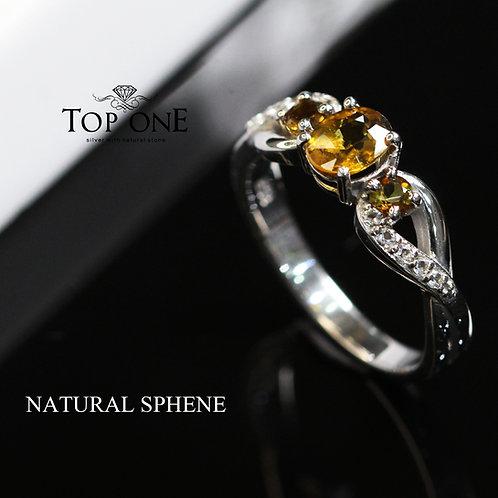 Natural Sphene 925 Sterling Silver Ring