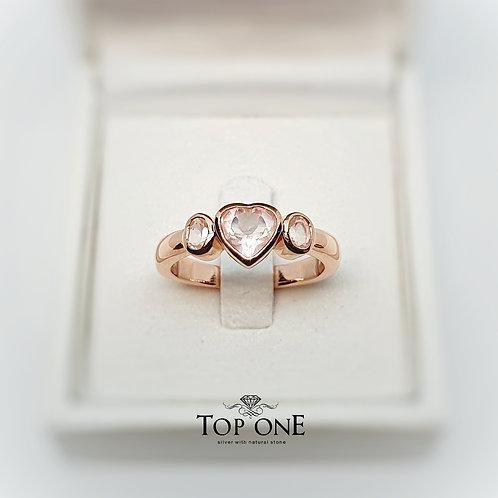 Natural RoseQuartz 925 Sterling Silver Ring