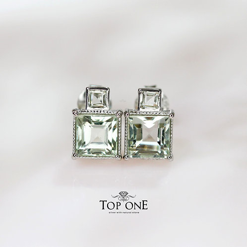 Natural Green Amethyst  925 Sterling Silver Earring