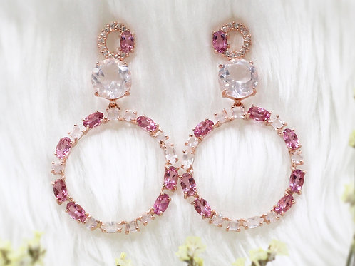 Natural Pink Tourmaline Rose Quartz White Topaz 925 Sterling silver Earring