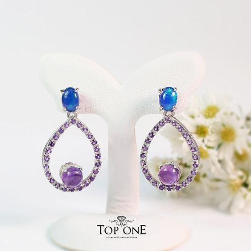 Natural Blue Opal ,  Amethyst 925 Sterling Silver Earring