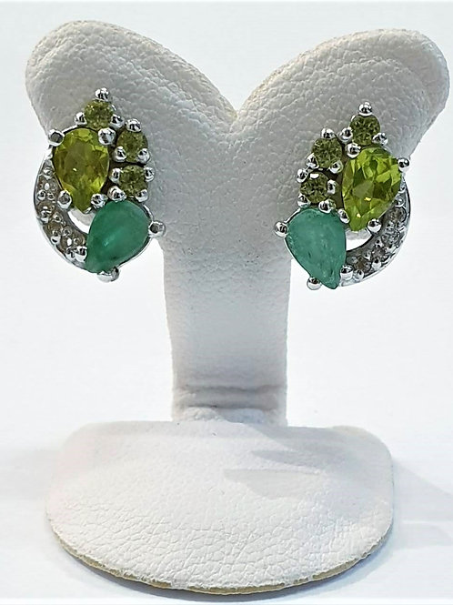 Natural Emerald Peridot 925 Sterling Silver Earring