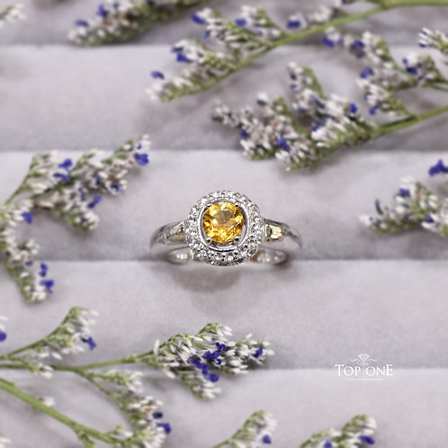 Natural Yellow Tourmaline White Topaz 925 Sterling Silver Ring