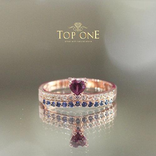 Rhodolite Sapphire White Topaz 925 Sterling Silver Ring