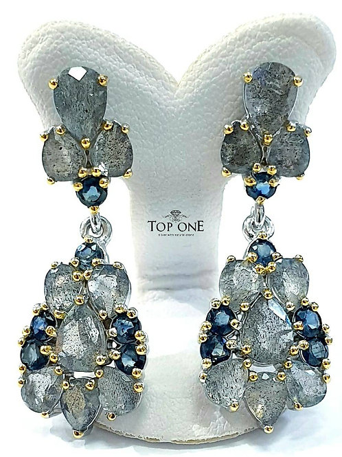 Natural Labradorite Blue Sapphire 925 Sterling Silver Earring