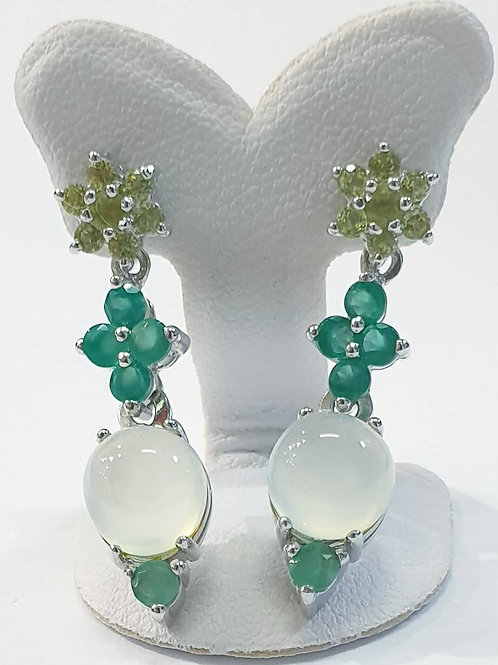 Natural Peridot Green Agate Prehnite Emerald 925 Silver Earring