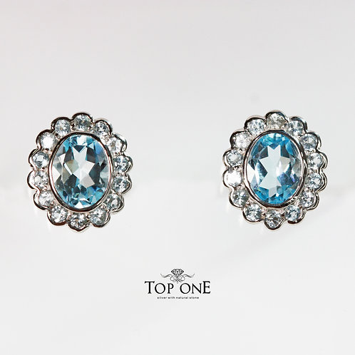 Natural Blue Topaz 925 Sterling Silver Earring