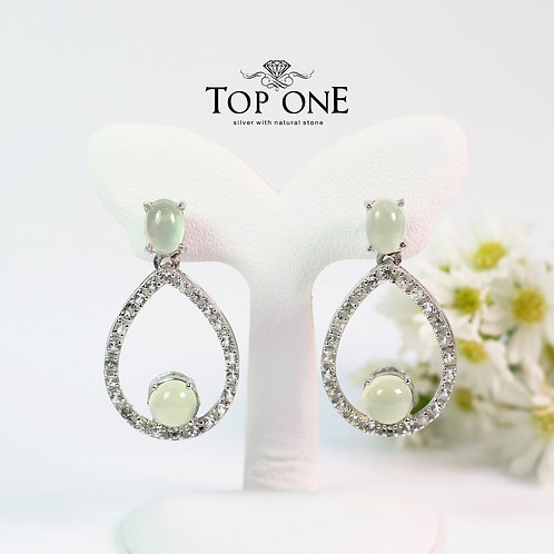 Natural Prehnite White Topaz  925 Sterling Silver Earring
