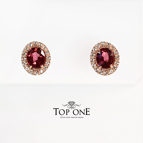 Natural Pink Rhodolite  925 Sterling Silver Earring