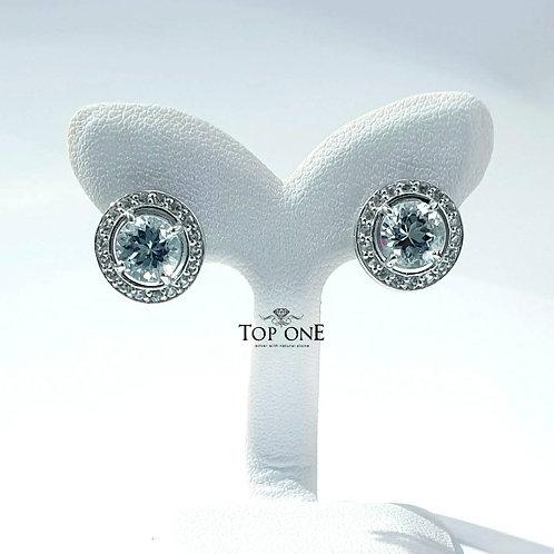 Natural Aquamarine White Topaz 925 Sterling Silver Earring