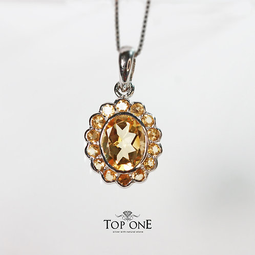 Natural Citrine 925 Sterling Silver Pendant