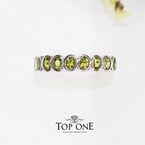Radiant Natural Green Sapphire 925 Sterling Silver Ring