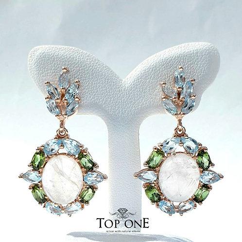 Natural Rose Quartz Green Tourmaline Blue Topaz 925 Sterling Silver Earring