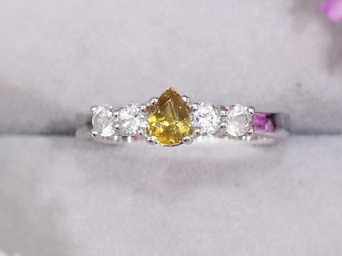 Natural Yellow Sapphire White Topaz 925 Sterling Silver Ring