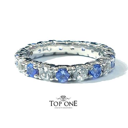 Ferris Natural Tanzanite White Topaz 925 Sterling Silver Ring