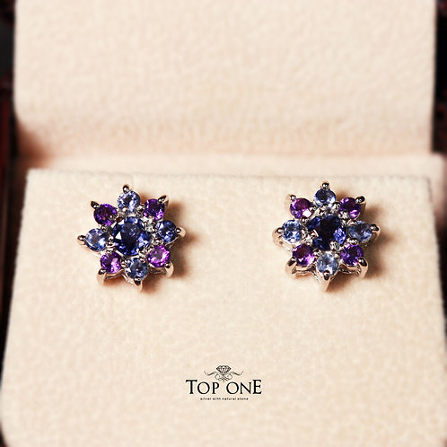 Natural Iolite 925 Sterling Silver Earring