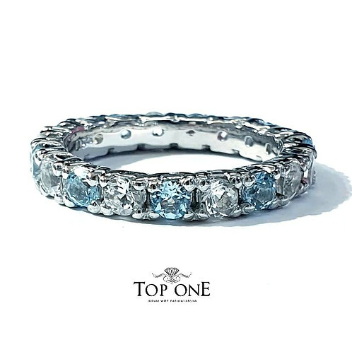Ferris Natural Blue and White Topaz 925 Sterling Silver Ring