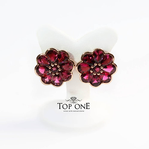 Natural Pink Tourmaline Rubellite Color 925 Sterling Silver Earring