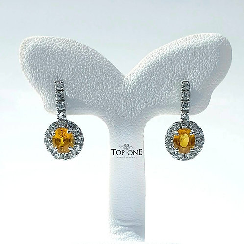 Natural Yellow Sapphire White Topaz 925 Sterling Silver Earring