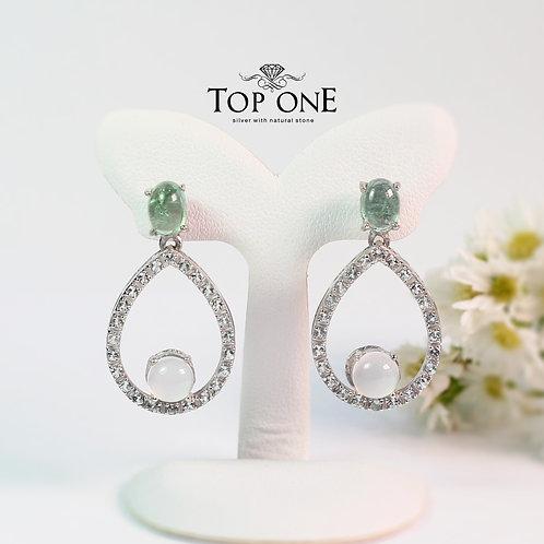 Natural Prehnite , White Topaz ,Chalcedony 925 Sterling Silver Earring