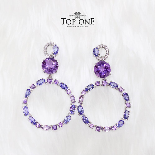 Natural Tanzanite Amethyst White Topaz 925 Sterling Silver Earring