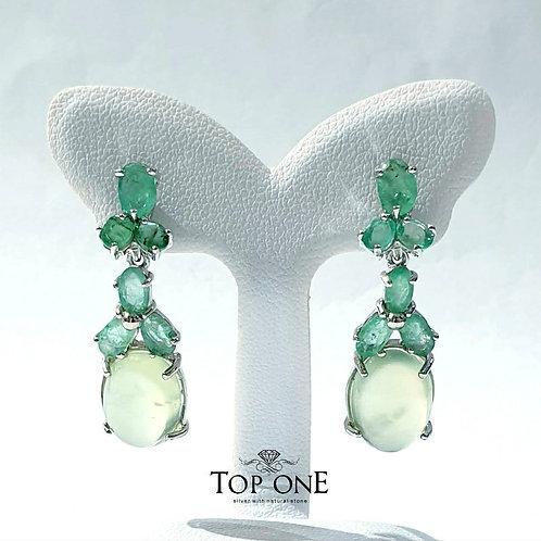 Natural Prehnite Emerald 925 Sterling Silver Earring